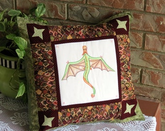Dragon Pillow Cover Pieced Pillowcase With Hand Embroidery Cover Only