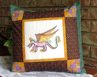 Purple Dragon Pillow Cover Pieced Pillowcase With Hand Embroidery Cover Only