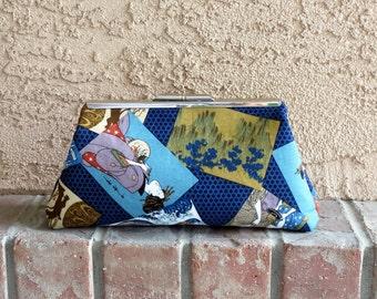 Fabric Clutch, Blue Purse, Japanese Motif Purse, 10 InchFabric Purse