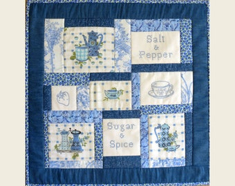 Blue Quilted Wall Hanging Original Design With Hand Embroidery