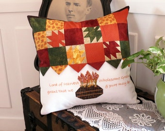 Pillow Cover,  Embroidered Quilt, Pieced Decor, Pillow Case, Quiona, Wholesome Grain, Thanksgiving, Patchwork Pillow, Fall Pillow
