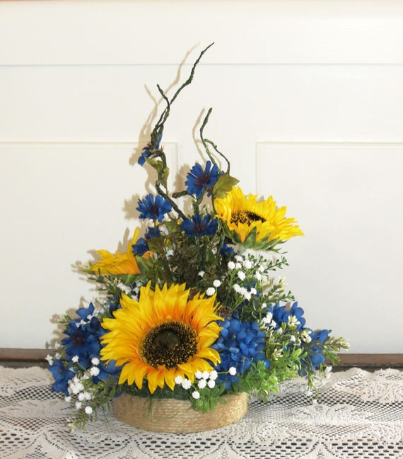 sunflower centerpiece made to order baby s breath royal etsy rh etsy com Royal Blue and Yellow Candy Table Royal Blue and Yellow Candy Table