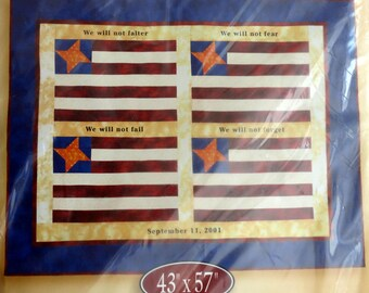 Flag Quilt, Quilt Kit, Jo-ann Quilt Kit, 43 x 57 Inches, American Spirit Quilt Top, Fabric for Top, Cindy Casciato, 9-ll Tribute. Patriot