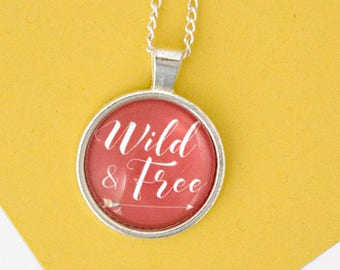 Wild And Free Necklace, Silver Necklace, Strong Women, Arrow Necklace, Festival Jewellery, bohemian jewelry, Wanderlust, Best Friend Gift