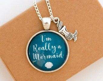 Mermaid Necklace, Mermaid Gift, Mermaid Jewellery, I'm Really a Mermaid, Secret Mermaid, Mermaid Jewelry, Mermaid Charm, Silver Necklace
