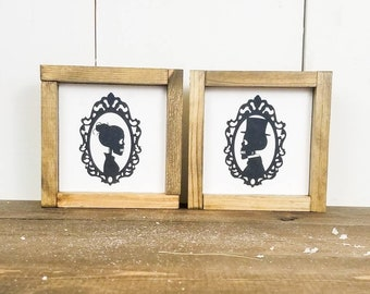 Gothic Skeleton Man and Woman Sign Set