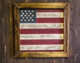 Rustic American Flag Wall Decor