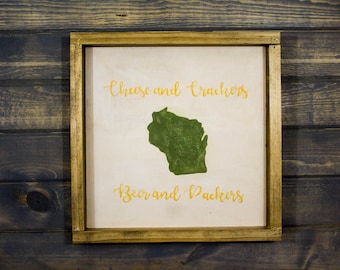 Framed Cheese and Crackers, Beer and Packers Sign