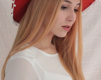 Daisy Days Orange Floppy Hat with white PomPoms and a Lace Border B-STOCK!