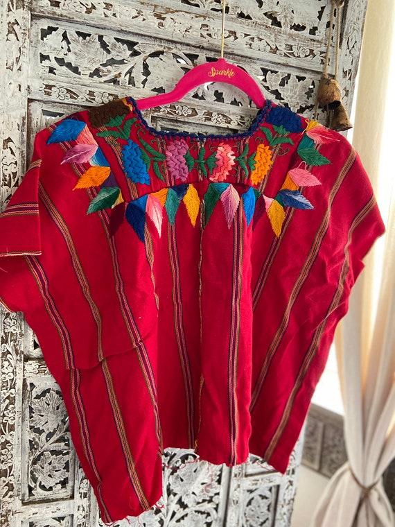 Fiesta Mexican Blouse Resort Wear Guatemalan Huipil Cinco de Mayo