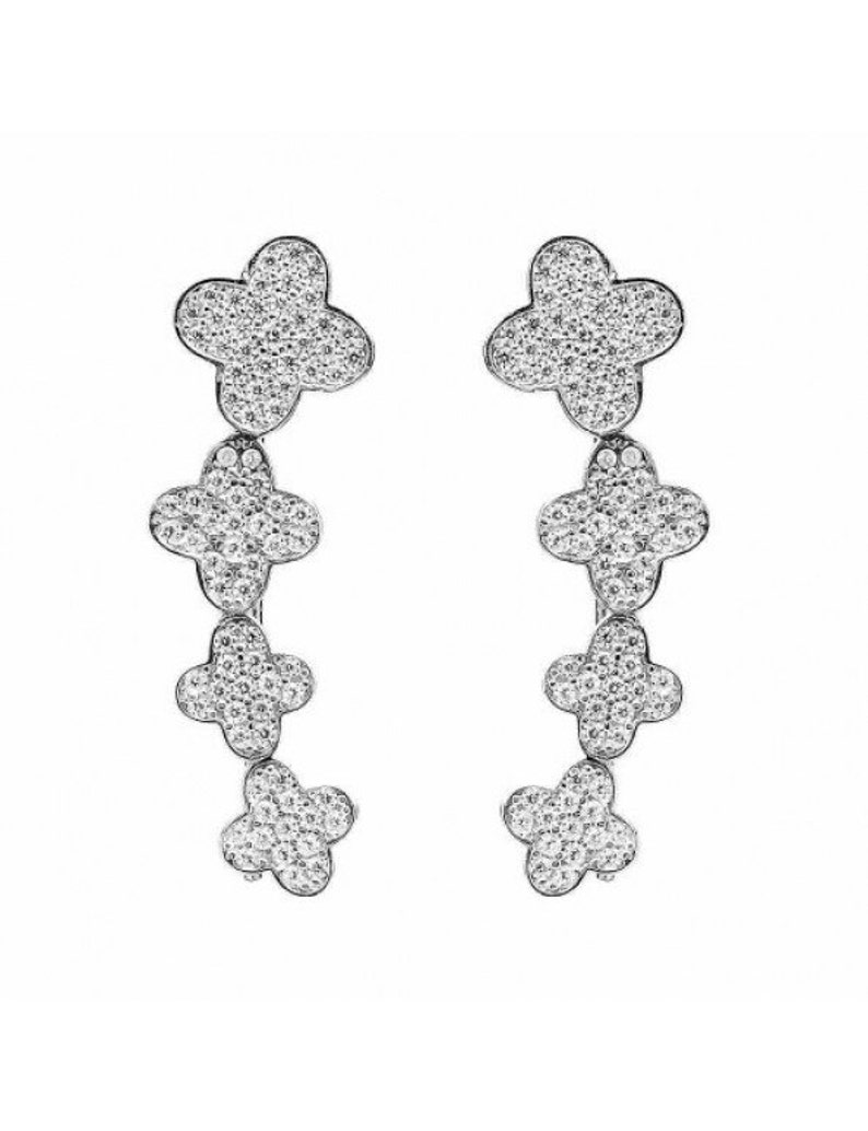 PAIR of Clover Sterling Silver Pave Ear Climbers Holiday Sale 925 Silver Ear CrawlersChristmas Present Gift for Her Crystal Ear Cuffs