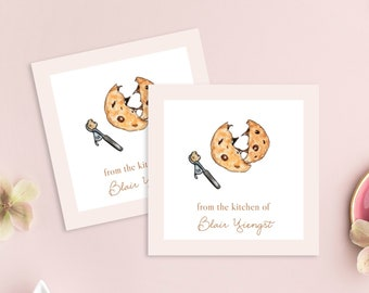 Personalized Enclosure Cards, Housewarming Gift Card, Custom Kitchen Card, Chocolate Chip Cookie, Dessert Gift