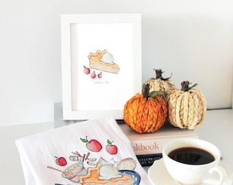 Apple Pie 5 x 7 Fine Art Print, Farmhouse Kitchen Decor, Summer Wall Decor, Apple Pie Sign, Apple Pie Art, Farmhouse Wall Decor,Gift for Ma