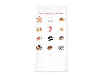 12 Cookies of Christmas Tea Towel, Holiday Kitchen Gift, Kitchen Christmas Decor, Christmas Cookies, Holiday Baker Present, Hostess Gift