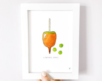 Caramel Apple 5x7 Kitchen Art Print, Halloween Wall Art, Fall Decoration, Harvest Apple Decor, Fall Kitchen Art, Caramel Apple Art
