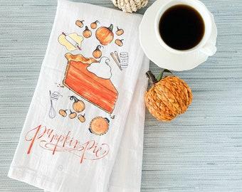 Pumpkin Pie Tea Towel, Decorative Kitchen Towel, Cotton Flour Sack Kitchen Towel, Fall Kitchen Decor, Pumpkin Pie Decor, Cozy Gift