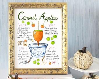 Caramel Apple Recipe Print, Halloween Decor, Fall Wall Decoration, Autumn Wall Hanging, Back to School Gift, Present for Teacher
