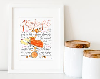 Pumpkin Pie Recipe Print, Thanksgiving Decoration, Pumpkin Decor, Thanksgiving Table Decor, Harvest Table,Orange Kitchen Decor,Food Painting
