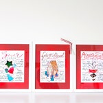 Christmas Recipe Art Print Trio, Holiday Kitchen Decor, Gift for Mom, for Grandma, for Sister in Law, for Aunt, for the Cook, Gingerbread