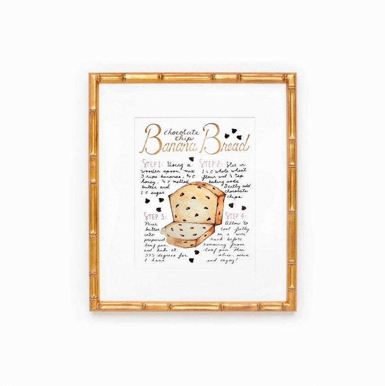Banana Bread Recipe Art Print Housewarming Gift Kitchen image 0