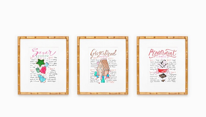 Christmas Recipe Art Print Trio Holiday Kitchen Decor Gift image 0