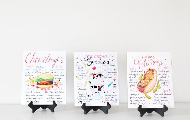 Summer Recipe Print Set Set of 3 Art Prints Backyard image 0