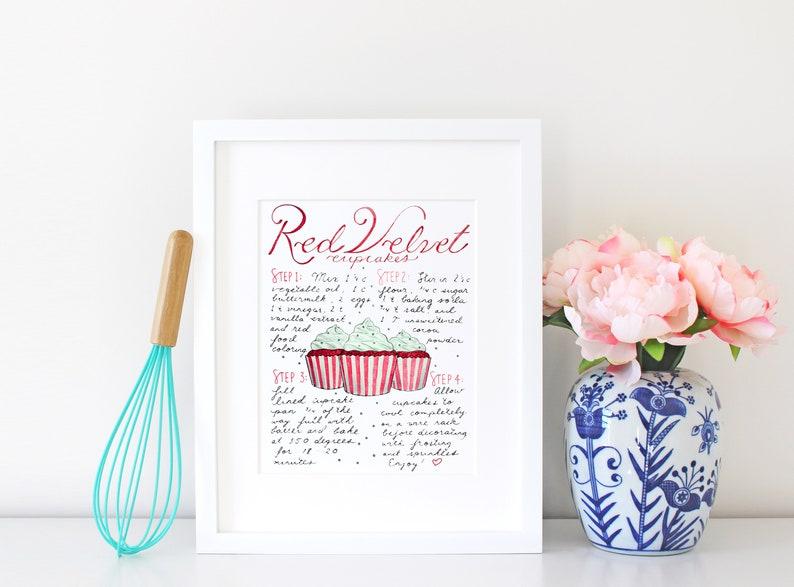 Red Velvet Cake Recipe Print Dessert Table Kitchen Sign image 0