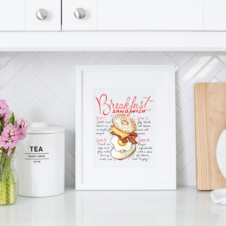 Breakfast Sandwich Recipe Print Bagel Sign Breakfast Bar image 0