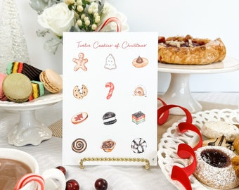 12 Cookies of Christmas Kitchen Art Print, Christmas Cookie Gift, Baking Present, for the Baker, Holiday Baking, Holiday Art Print