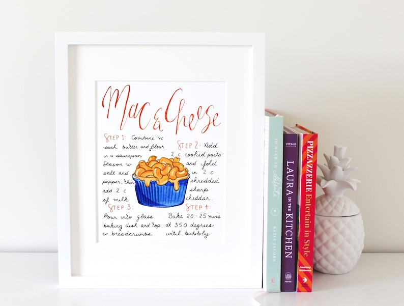 Mac and Cheese Art Pasta Poster Office Wall Art Desk Accessory image 0