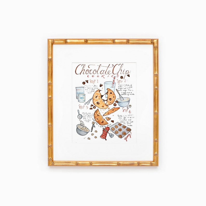 Chocolate Chip Cookies Bakery Poster Food Art Chocolate image 0