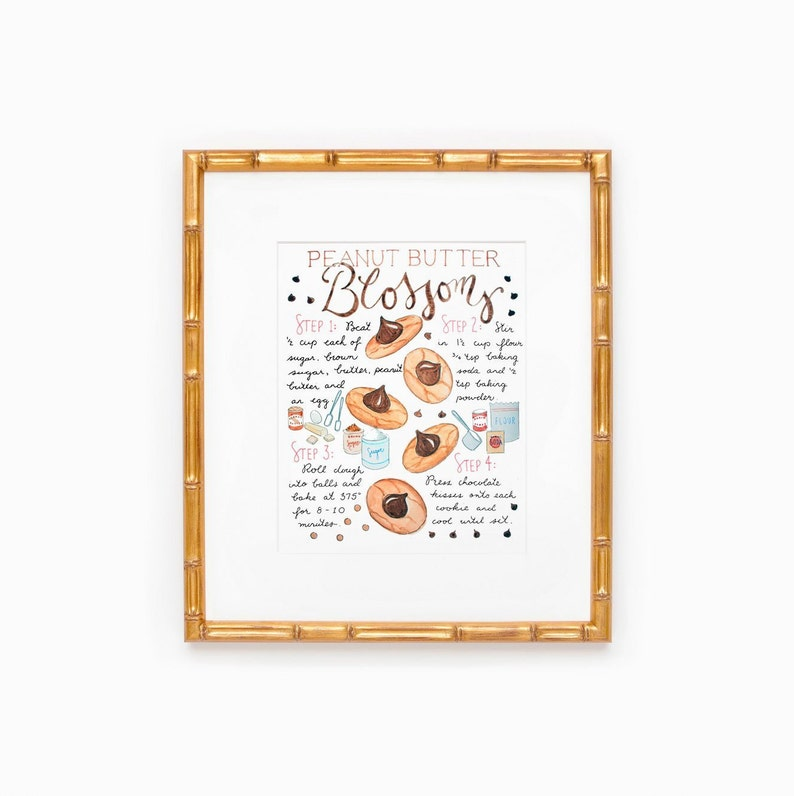 Peanut Butter Blossom Cookie Recipe Illustration Gift for image 0