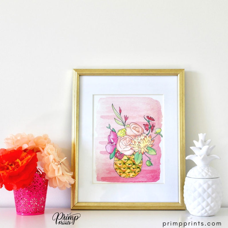 Pink Flower Watercolor Art Summer Outdoors MOH Present Baby image 0