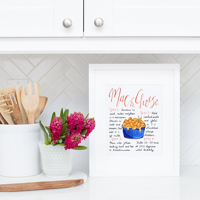 Macaroni and Cheese Art Print Hand Lettered Recipe Pasta image 0