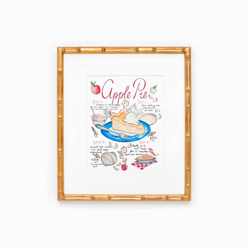 Apple Pie Recipe Kitchen Decor Art Print Back to School Red image 0