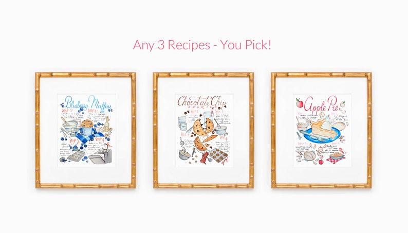Set of 3 Art Prints Kitchen Wall Art Favorite Recipe For image 0