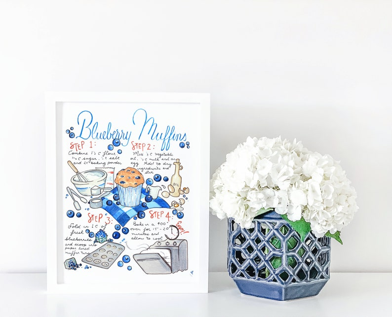Blueberry Muffin Recipe Print Blue and White Decor image 0