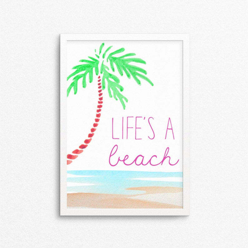 Life's a Beach Art Print Beach Decor Coastal Wall Art image 0