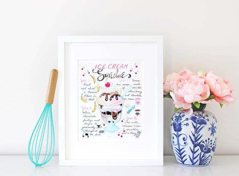 Ice Cream Sundae Watercolor Art Print Illustrated Recipe image 0