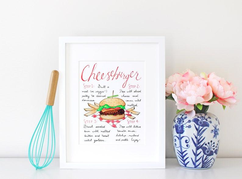Burger Art Print Burger Bar Burger King Gift for Dad Gift image 0