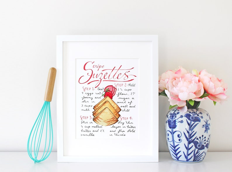 Crepe Suzettes Recipe Art Print Dessert Sign French Cuisine image 0