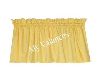 Solid Butter Yellow Window Curtain Valance. Kids Boys Girls Room Kitchen  Bathroom Bedroom Topper LINING Option