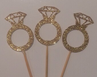 Sparkling Diamond Ring Cupcake Toppers