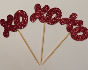 Sparkling Hugs & Kisses Cupcake Toppers