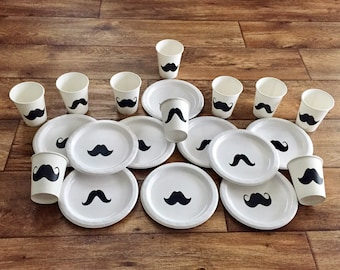 Mustache Birthday Party Cups and Plates Mustache Baby Shower Cups and Plates Mustache Tableware Mustache Party Supplies Little Man Party & Mustache party | Etsy