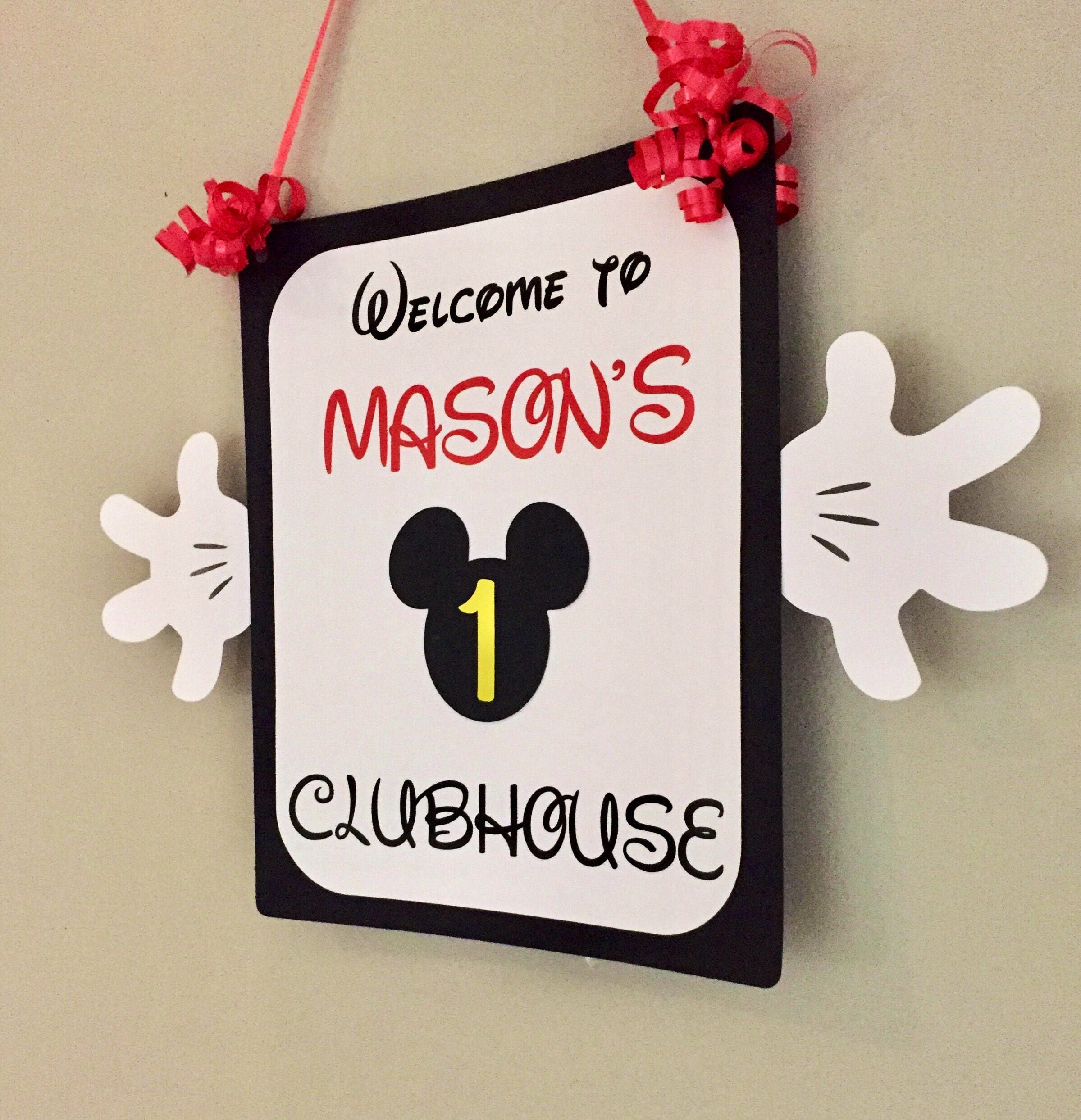 Great for birthday Parties Personalized Mickey Mouse Clubhouse Door Sign
