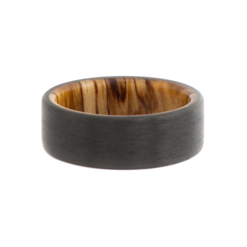 7mm Engagement Ring Wood Ring Black Ring Custom Silver Spalted Birch Wood Inner Sleeve Forged Carbon Fiber Ring Wedding Band