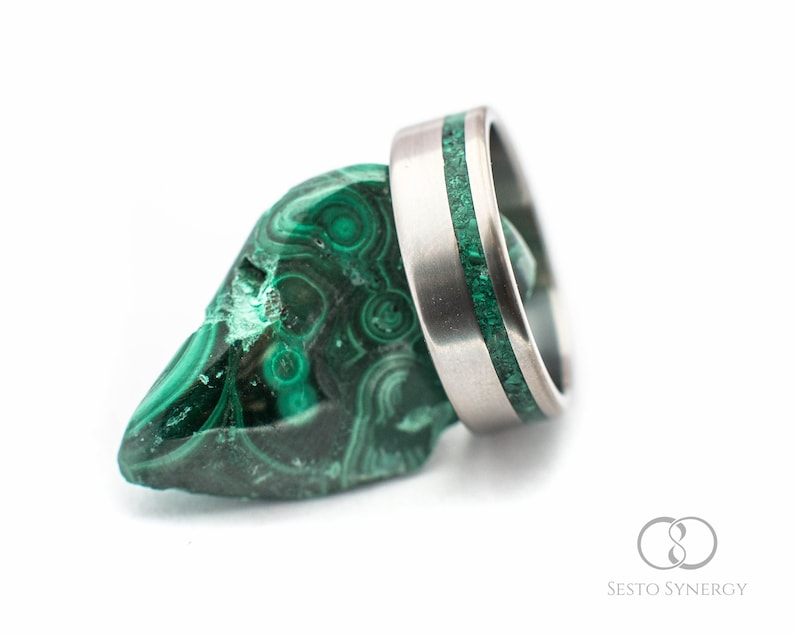 For Men And Women Wedding And Engagement Ring Titanium Ring With Malachite Mineral Stone Inlay Custom Made.