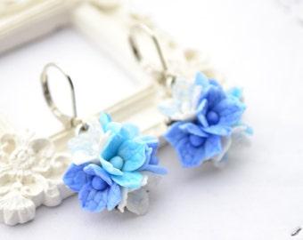 Hydrangea earrings, wedding bridal brides blue hydrangea flower floral earrings, clay hydrangea jewelry, blue bridesmaid earrings gift