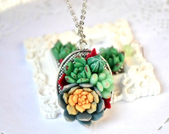 Succulent planter necklace pendant. Succulent jewelry. Succulent earrings jewelry set. Rustic necklace jewelry. Succulent wedding bridesmaid